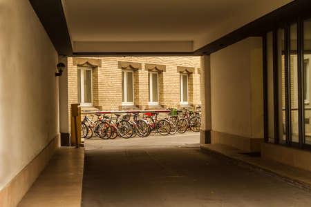 Baum Und Fahrradtrager In Einem Hinterhof Lizenzfreie Fotos