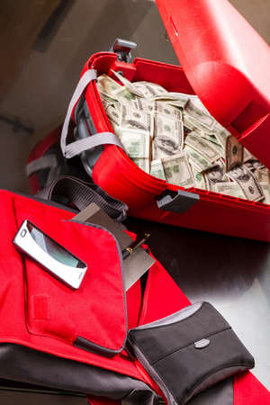 A Suitcase with lots of dollars, ready for business  photo