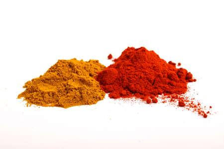 Pile of paprika and pepper powder Foto de archivo