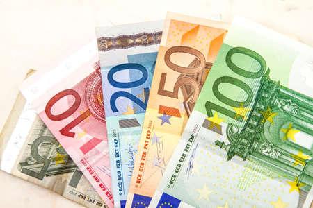 amounts: Euros of different amounts Stock Photo