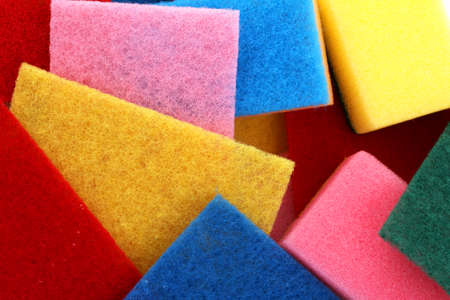 A lot of sponges in different colors background Stock Photo - 27124907