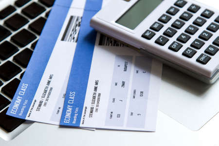 Analyzing airline tickets costs on line Stok Fotoğraf - 30100224