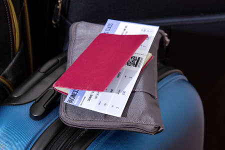 polycarbonate: Airline ticket, passport and luggage, ready to travel