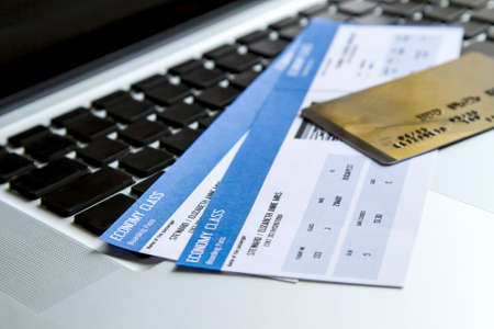 Buying airline tickets on line with a credit card Standard-Bild
