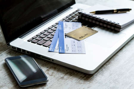 boarding card: Buying airline tickets on line with a credit card