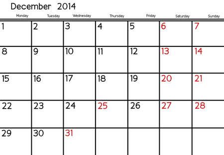 Blank Calendar of December, 2014  photo