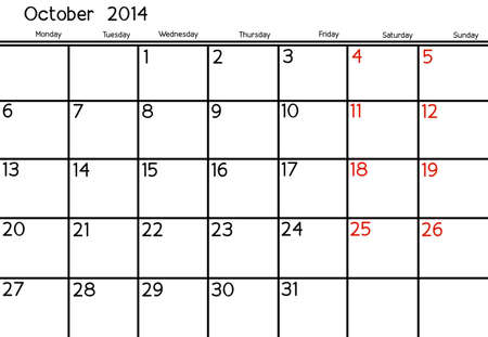 Blank Calendar of October, 2014  photo