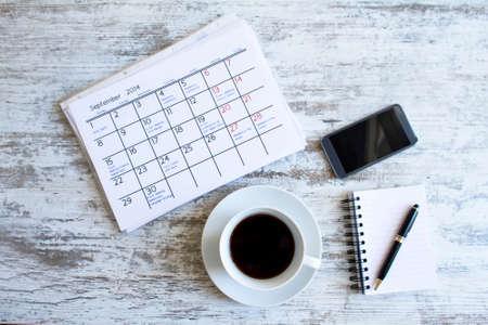 毎月の活動やオフィスで予定をチェック 写真素材