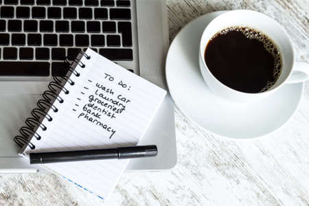 do: To do list meanwhile having a coffee