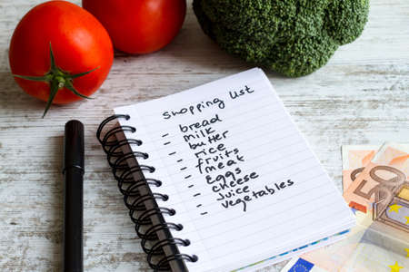 Preparing the shopping list before going to buy the groceries. photo
