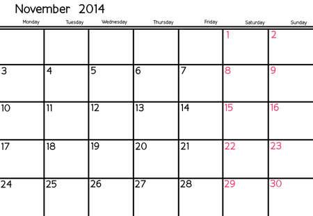 Blank Calendar of November, 2014