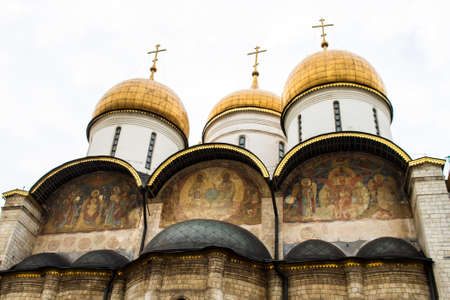 assumption: The Assumption Cathedral inside the Kremlin, in Moscow, Russia Stock Photo