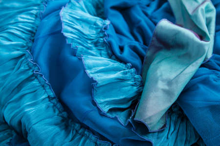 sheeny: A fancy wrinkled blue fabric background Stock Photo