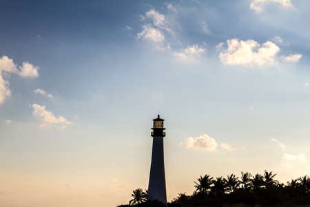 bill baggs: Lighthouse on sunset at the Florida State Park, Key Biscayne, Miami, United States Stock Photo