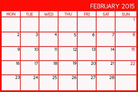 Blank Calendar of February, 2015 photo