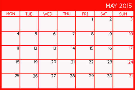 Blank Calendar of May, 2015 Stock Photo