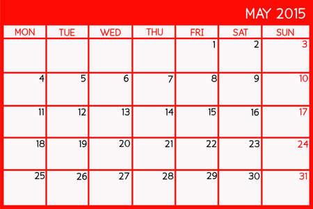 Blank Calendar of May, 2015 Foto de archivo