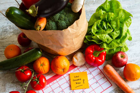 to the diet: Low calorie diet,  vegetables and fruits Stock Photo