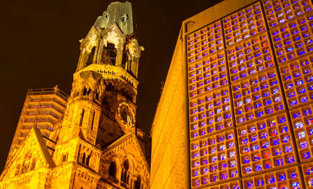 kaiser: Memorial Kaiser Wilhelm Church at night, in Berlin, Germany Stock Photo