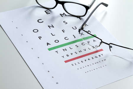 diopter: Eyes Examination, glasses diopter check up Stock Photo