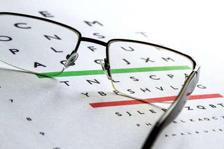 vision test: Examen de ojos, gafas de dioptr�a comprueben