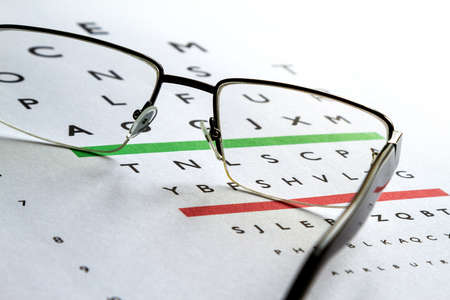 medical eye care: Eyes Examination, glasses diopter check up Stock Photo