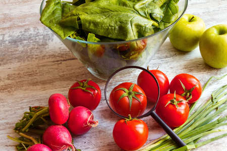 pesticides: Analysing food, pesticides free vegetables Stock Photo