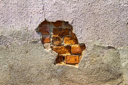 wall paint: Brick wall, paint peel off Stock Photo