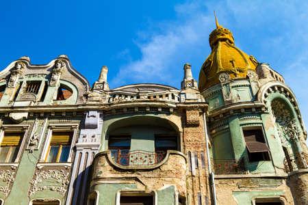 architectural architectonic: Romanian facade in Oradea city Stock Photo