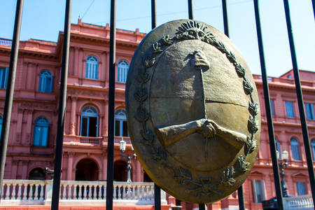 evita: Argentinian Government House, the ¨Pink House¨, in Buenos Aires, with the national emblem in the forefront