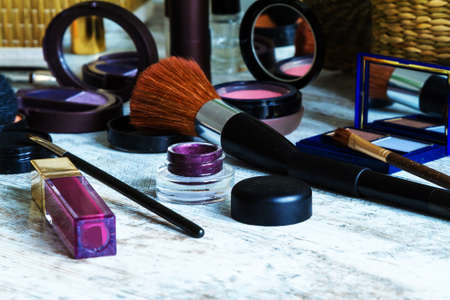 going out: Putting on make up before going out