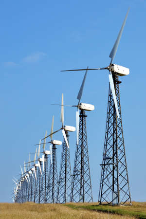 conservational: Wind-powered generators in the steppes of Azov Stock Photo