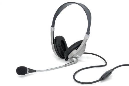 qualitative: Stereo headphones for listening of qualitative music with microphone Stock Photo