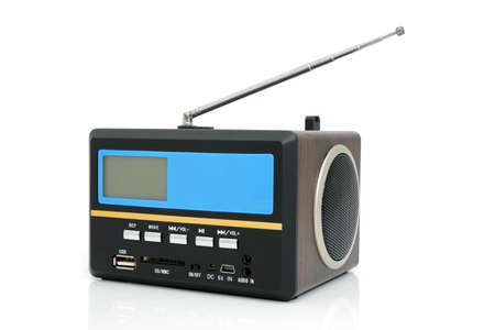 cardreader: Minispeaker - FM receiver. Audio box for mobile phones and laptops with card-reader, amplifier and MP3 player Stock Photo