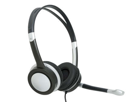 aural: Stereo headphones for listening of music with a microphone Stock Photo