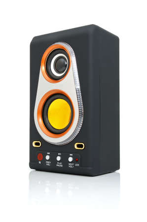 cardreader: Audio Speaker and MP3-player with card-reader and USB Stock Photo