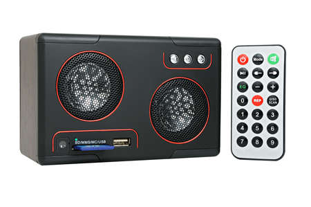 cardreader: Speaker, MP3-player with card-reader and USB and remote control.  Stock Photo