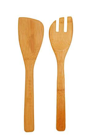 Wooden kitchen utensils ware on white background Standard-Bild