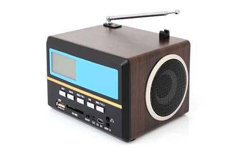 fm: Minispeaker - FM receiver. Audio box for mobile phones and laptops with card-reader, amplifier and MP3 player Stock Photo