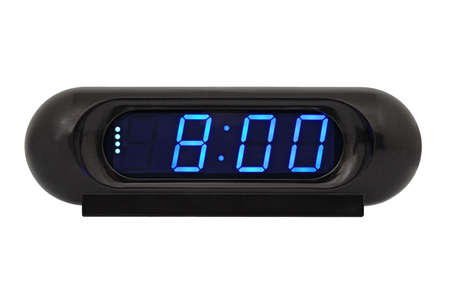 effortless: Desktop electronic clock isolated on white background Stock Photo