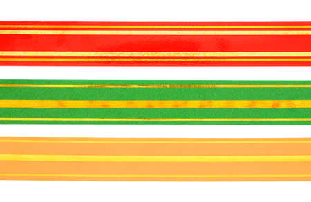 sealing tape: Color ribbon for decorating gifts on the white background