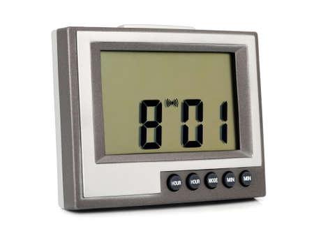 reveille: Desktop electronic clock isolated on white background Stock Photo