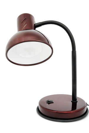 Desk lamp of claret color on a white background