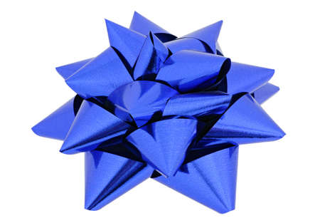 sealing tape: Blue star for decorating gifts on the white background
