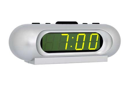 sept: Bureau horloge �lectronique isol� sur fond blanc Banque d'images