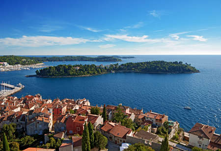 Ancient part of Rovinj in Croatia against the blue sky