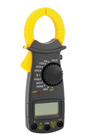 High-resistance ohmmeter, voltmeter, ampermeter and thermometer. Stock Photo
