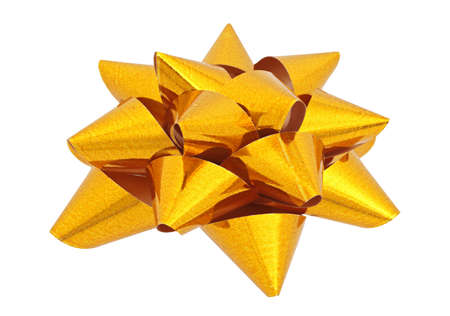 sealing tape: Gold star for decorating gifts on the white background