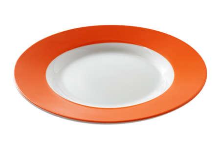 plato de comida: Placa naranja aislada sobre el fondo blanco