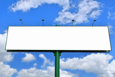 advertisment: Blank billboard against the blue sky Stock Photo